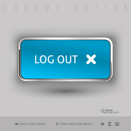 shiny buttons: Chrome button log out with color plastic inside. Elegant design elements. Illustration