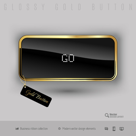 go inside: Gold button go with black glossy inside and modern pixel font. Luxury design elements.