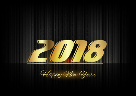 gold numbers: New Year 2018. Gold numbers on the black background. Luxury design elements.