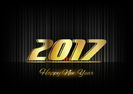 gold numbers: New Year 2017. Gold numbers on the black background. Luxury design elements. Illustration