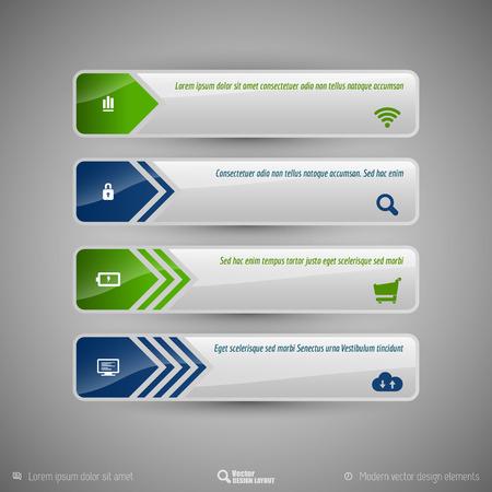 tabs: Design elements for infographics, layout, web page. Modern symbols on the elegant tabs. Illustration