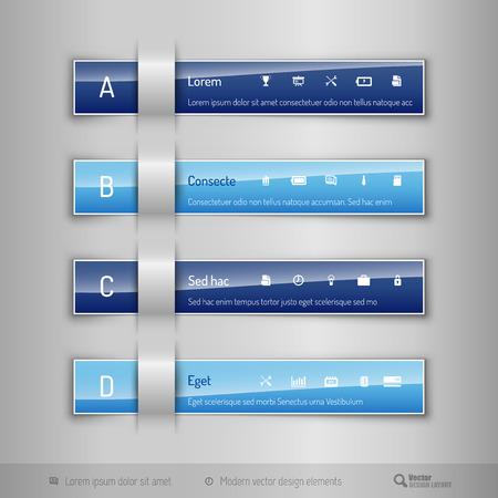 tabs: Modern business tabs for infographics.Template for web design, presentation, education, banner, brochure and flyer. Illustration