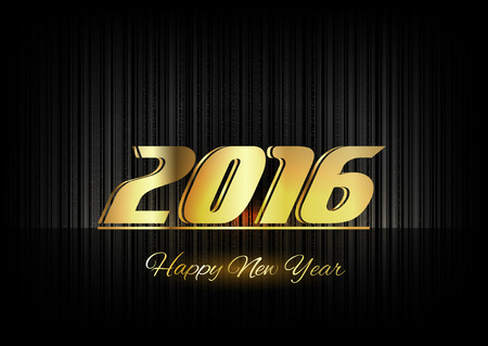 gold numbers: New Year 2016. Gold numbers on the black background. Luxury design elements. Illustration