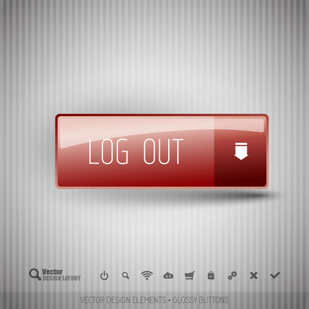 log off: Simple button on the neutral gray background with icons.