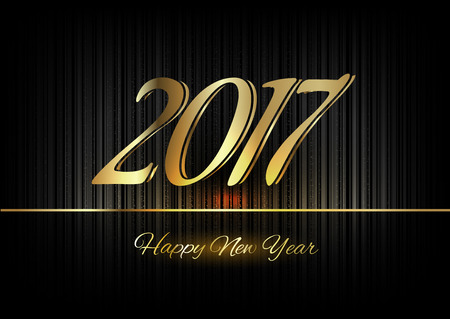 gold background: New Year 2017. Gold numbers on the black background. Luxury design elements. Illustration