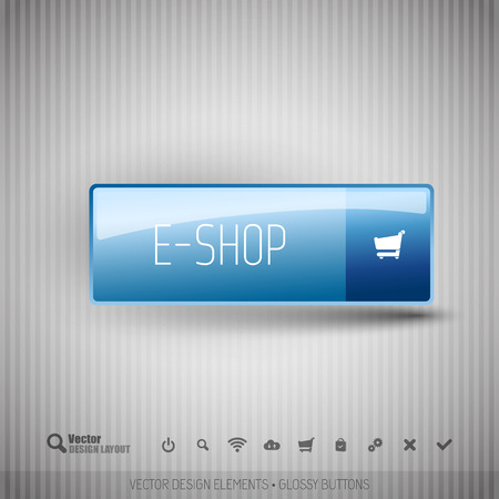 eshop: E-shop button on the neutral gray background with icons.