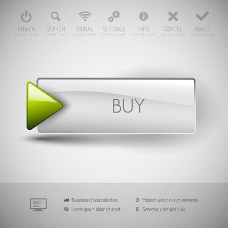 アイコンとシンボル ベクトル ボタンを購入します。モダンなデザイン要素です。