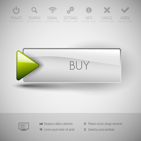 Vector button BUY with icons and symbols. Modern design elements.