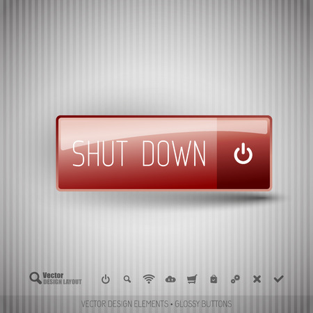 Shut down button on the neutral gray background with icons. Illustration