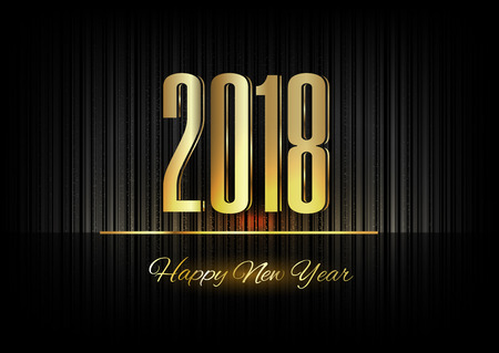 New Year 2018. Gold numbers on the black background