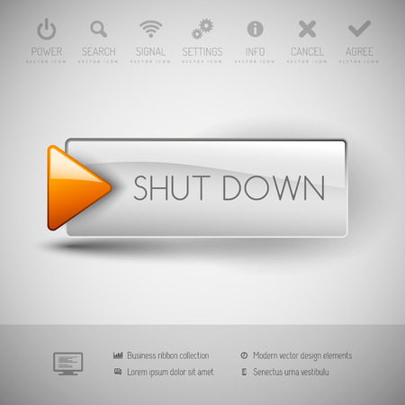 Shut down button with icons and symbols. Modern design elements. Illustration