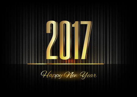 new years eve background: New Year 2017. Gold numbers on the black background
