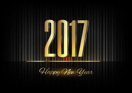 nouvel an: Nouvelle année 2017. nombres d'or sur le fond noir Illustration
