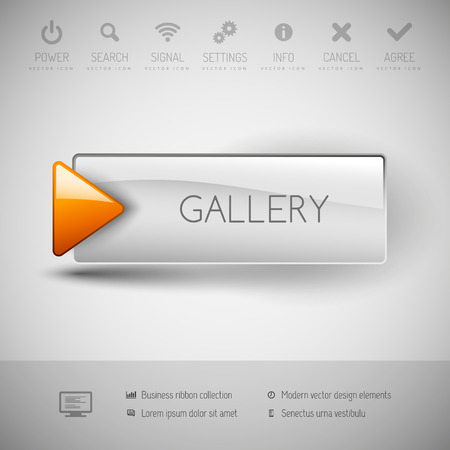 gallery: Gallery button with icons and symbols. Modern design elements.