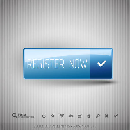 color registration: Simple button on the neutral gray background with icons.