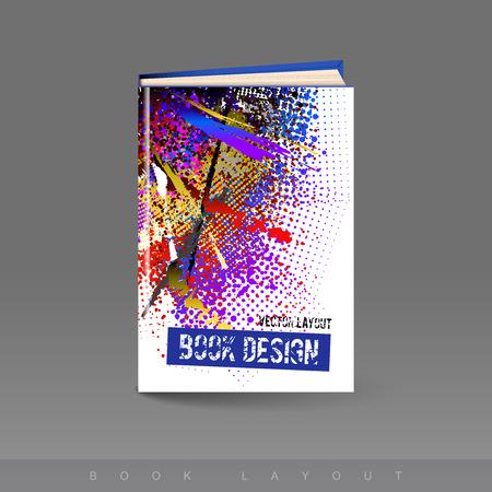 spilled paint: Modern abstract brochure as book flyer design template.