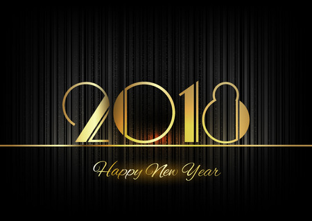 new year greeting: New Year 2018. Gold numbers on the black background. Luxury design elements.