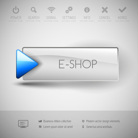 eshop: button E-shop with icons and symbols. Modern design elements.