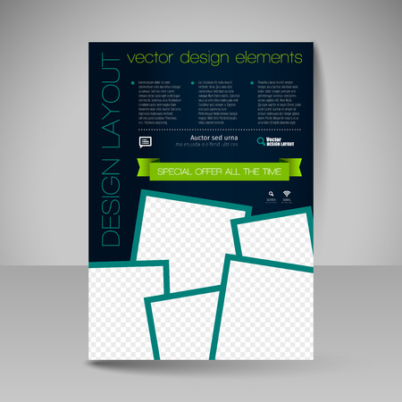 flyer: Template for brochure, flyer. Editable site for business, education, presentation, website, magazine cover.