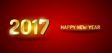 new year eve: Red and gold greetings card. Happy New Year 2017.