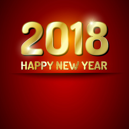 Red and gold greeting card for New Year 2018.