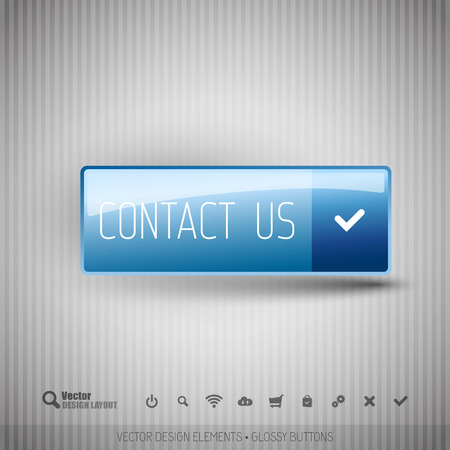 internet buttons: Simple button CONTACT US on the neutral gray background with icons. Illustration