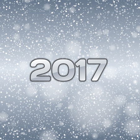falling snow: Blue background with falling snow and numbers of 2017. New year symbol.