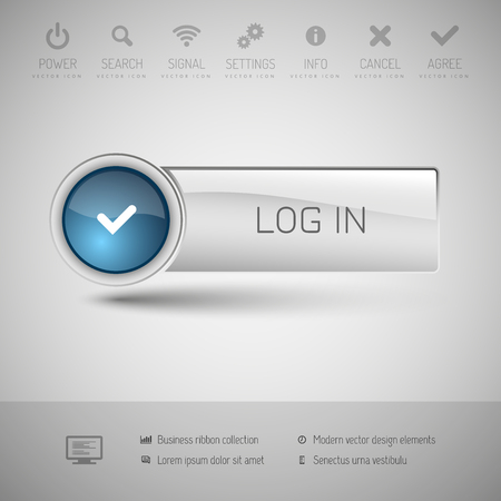 color registration: Modern gray button with blue glossy area for icon.