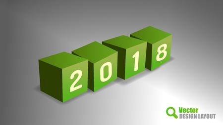 playfull: Four cubes as 2018 playfull symbols. Vector design elements. Illustration