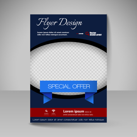 flyer: Template for brochure or flyer. Editable site for business, education, presentation, website, magazine cover.