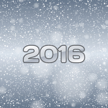 falling snow: Blue background with falling snow and numbers of 2016. New year symbol.
