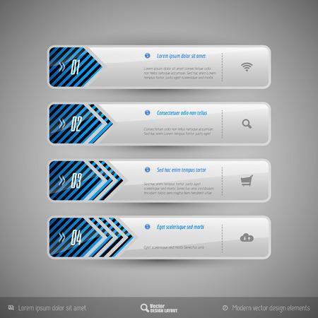 design elements: Design elements for infographics, layout, web pages... Modern symbols on the elegant tabs.