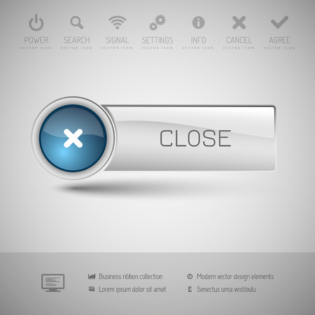 blue button: Modern gray button with blue glossy area for icon.