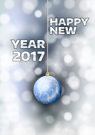 gold  ball: New year 2017 with gold ball. Vector greeting card.