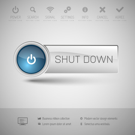 shutdown: Modern gray button with blue glossy area for icon.