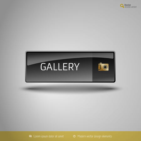 pic  picture: Black glossy button with gold icon. Vector, business, web, design elements.