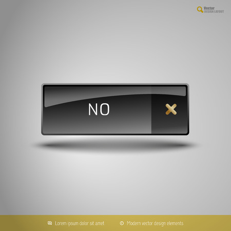 disapproval: Black glossy button with gold icon. Vector, business, web, design elements.