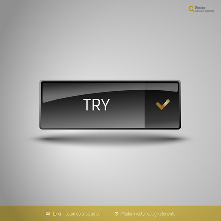 glossy button: Black glossy button with gold icon. Vector, business, web, design elements.
