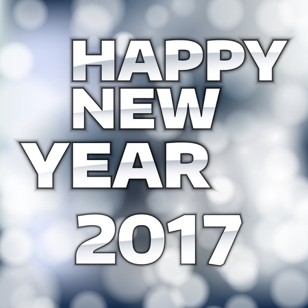 happy new year text: Happy New Year 2017 - Silver text on the blue background.