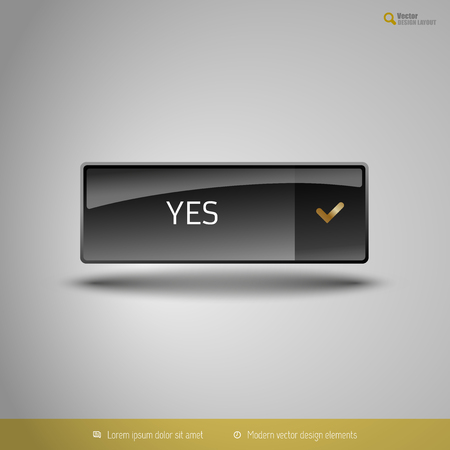 assent: Black glossy button with gold icon. Vector, business, web, design elements.