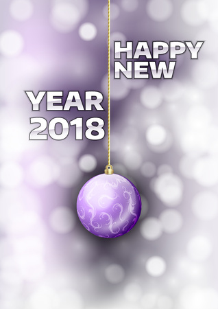 gold  ball: New year 2018 with gold ball. Vector greeting card. Illustration