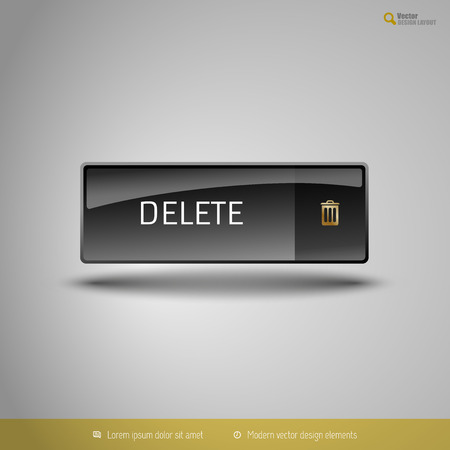 abort: Black glossy button with gold icon. Vector, business, web, design elements.