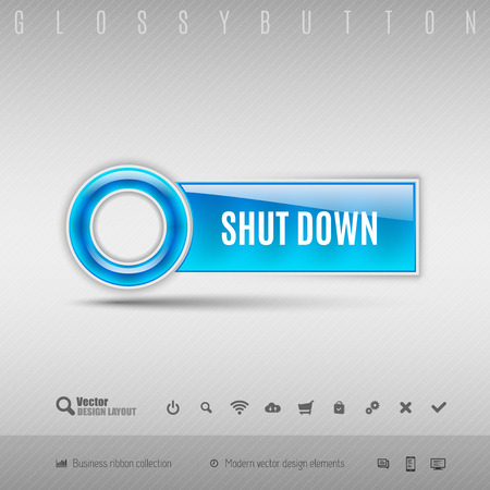 shutdown: Blue plastic button with circle. Vector design element. Illustration