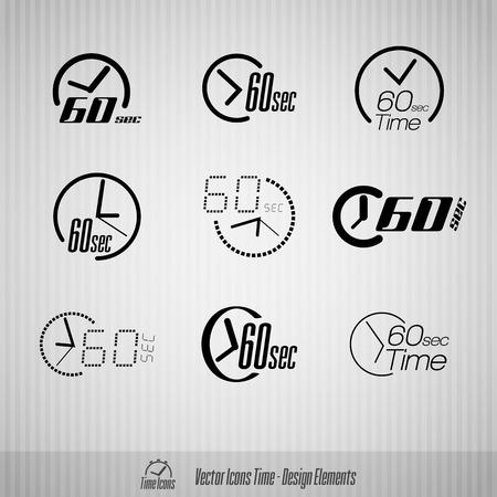 second: Vector time icons. 60 seconds symbols. Design elements.