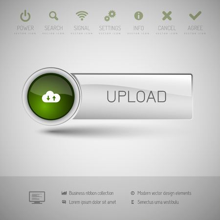 uploading: Gray vector button with green area for icons and symbols. Modern design elements.