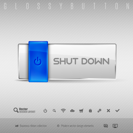 shutdown: Blue and gray glossy button. Vector design elements.