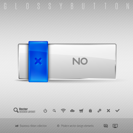 disapproval: Blue and gray glossy button. Vector design elements.