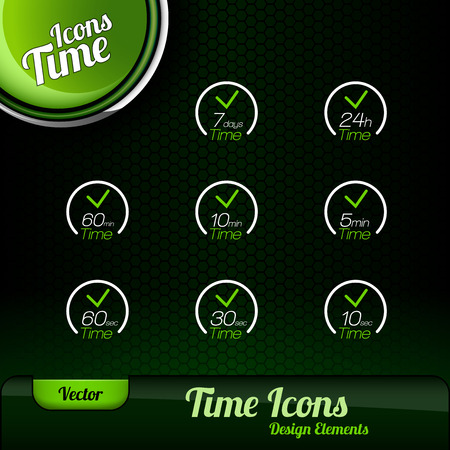 every day: Vector time icons. Dark green background with green button. Design elements. Illustration