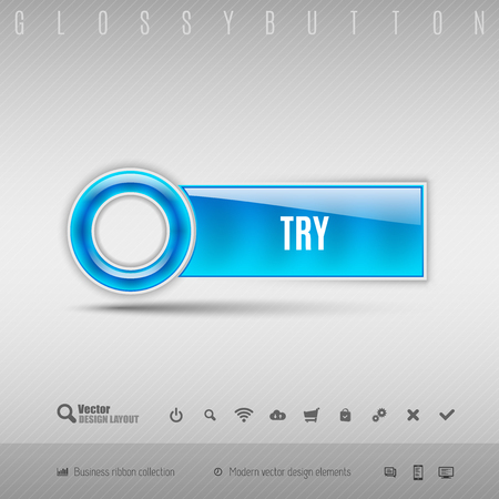 check out: Blue plastic button with circle. Vector design element. Illustration