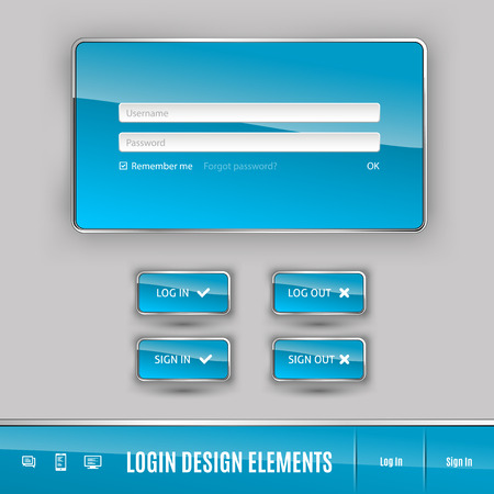 password: Set of member login template with buttons. Username and  password form. Vector design elements.
